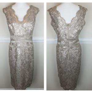 Tadashi Shoji Metallic Lace Sheath Dress A0507